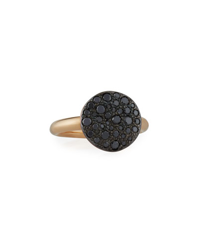 Sabbia 18k Rose Gold & Black Diamond Ring, Size 54