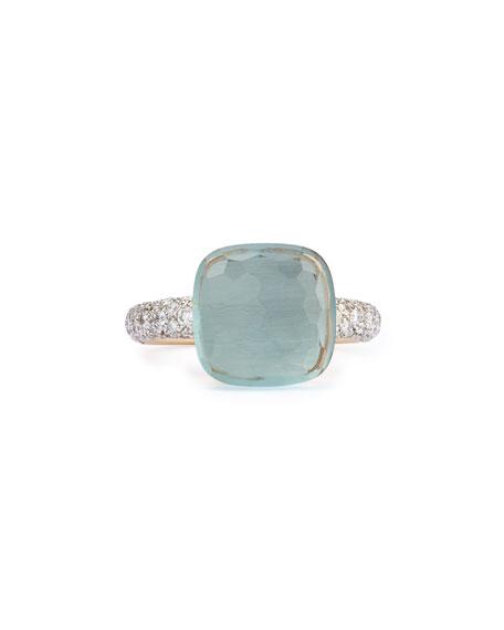 Pomellato Nudo Grande Rose Gold & Blue Topaz Diamond Ring, Size 52