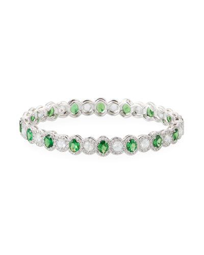 Tsavorite & Diamond Bangle Bracelet