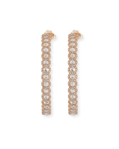 18k Rose Gold Rose-Cut Diamond Hoop Earrings