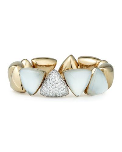 Freccia 18k White Gold Rock Crystal White Mother of Pearl White Diamonds ...