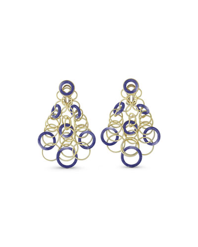 Hawaii Lapis Circle Earrings in 18K Gold