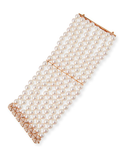 8-Row Akoya Pearl Bracelet with Diamonds in 18K Rose Gold