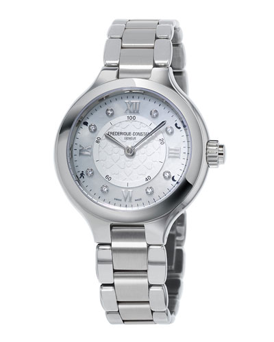 Frederique Constant 34mm Ladies Horological Stainless Steel Smart