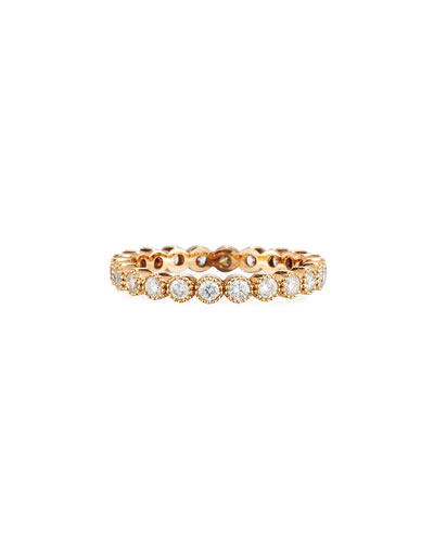 18k Rose Gold Milgrain Diamond Stacking Ring