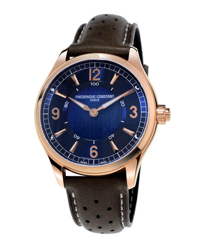 42mm Horological Smart Watch with Leather Strap, Brown/Blue
