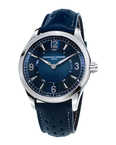 42mm Horological Smart Watch with Leather Strap, Navy Blue