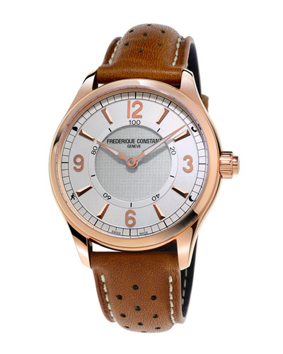 FREDERIQUE CONSTANT HOROLOGICAL SMART WATCH WITH LEATHER STRAP, WHITE/BROWN