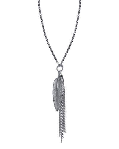 Feather Fringe Pendant Necklace with Diamonds, 46
