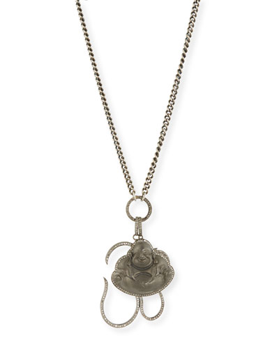 Chain Link Necklace with Diamond Buddha & Om Charms, 43