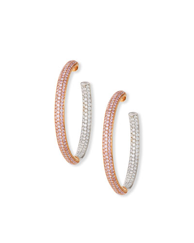 18K Rose Gold & Diamond Melee Hoop Earrings