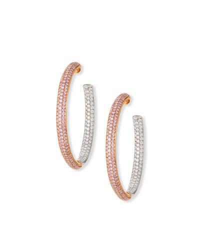 18K Rose Gold Pink & White Diamond Hoop Earrings