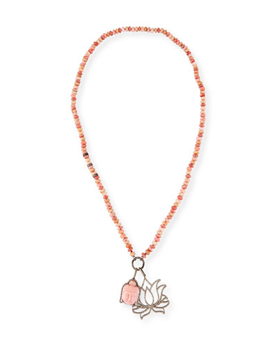 Rhodochrosite Beaded Necklace with Diamond Lotus & Buddha