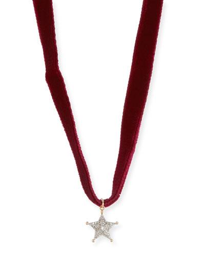 Velvet Choker Necklace with Diamond Sheriff Star, Bordeaux