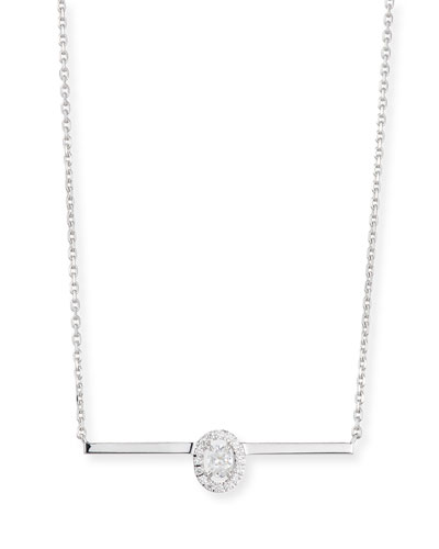 Glam'Azone Oval Diamond Bar Necklace in 18K White Gold