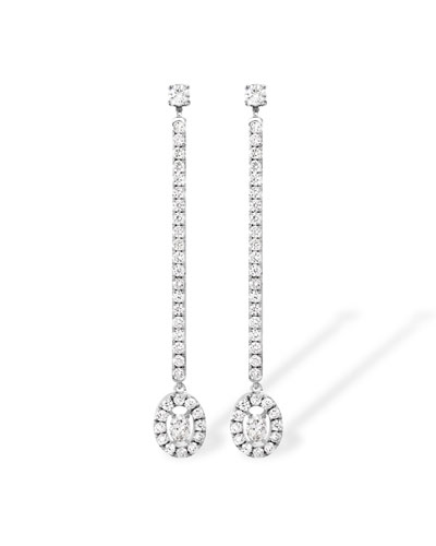 Glam'Azone Diamond Drop Earrings in 18K White Gold