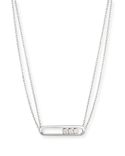 Move Two-Strand Diamond Bezel Pendant Necklace in 18K White Gold