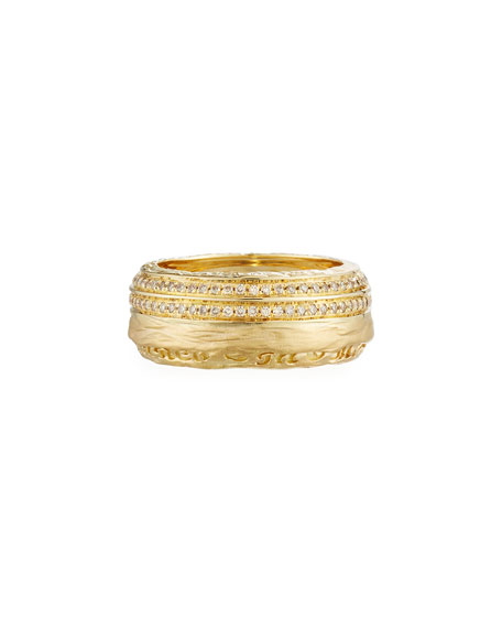 Marco Dal Maso The Other Half Men's 18K Band Ring with Diamonds, Size 9