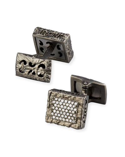 Warrior 18K Black Gold & Diamond Cufflinks
