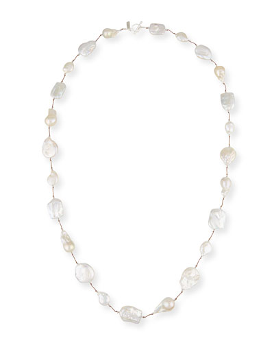 Keshi Pearl & Crystal Station Necklace, 35