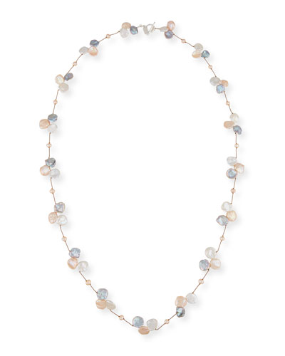 Keshi Pearl Trio Station Necklace, Gray/Pink/White