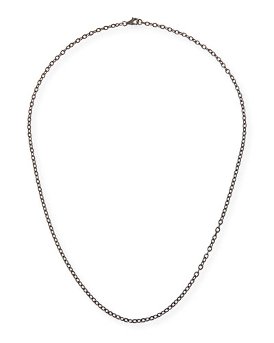 Rhodium-Plated Sterling Silver Chain Necklace, 24