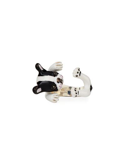 French Bulldog Enameled Dog Hug Ring, Size 6