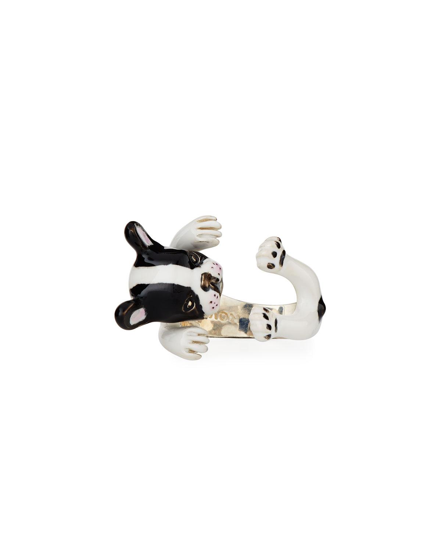 Dog Fever French Bulldog Enameled Dog Hug Ring, Size 7