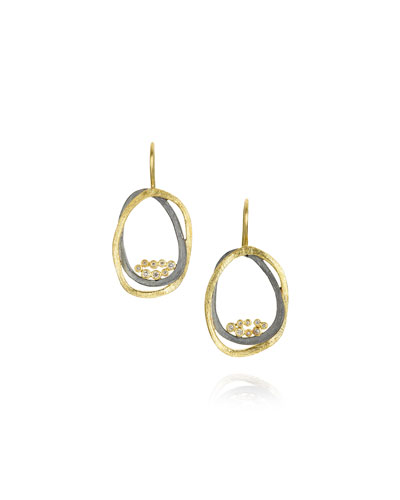 Small Dangle Earrings in 18K Gold & Sterling Silver with Diamonds