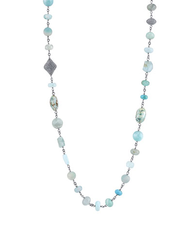 Mixed Wire Wrap Necklace with Amazonite, Aquamarine, Opal & Turquoise, 44