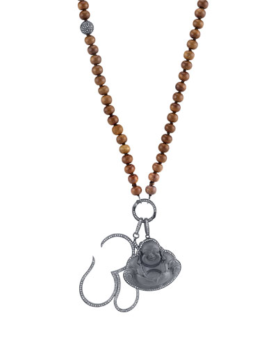Sandalwood Beaded Necklace with Diamond Buddha & Om Charms, 43