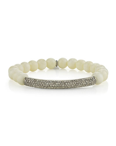 8mm Bone Beaded Bracelet with Diamonds