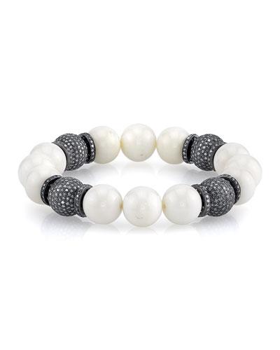 12mm Bone Beaded Bracelet with Diamonds