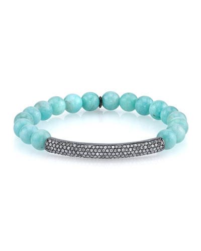 8mm Amazonite Beaded Bracelet with Diamond Bar