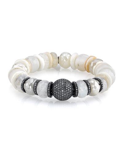 11mm Mixed Druzy Agate Beaded Bracelet with Diamonds