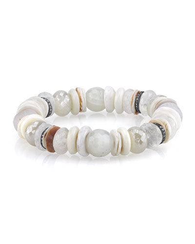 11mm White Druzy Beaded Bracelet with Diamonds