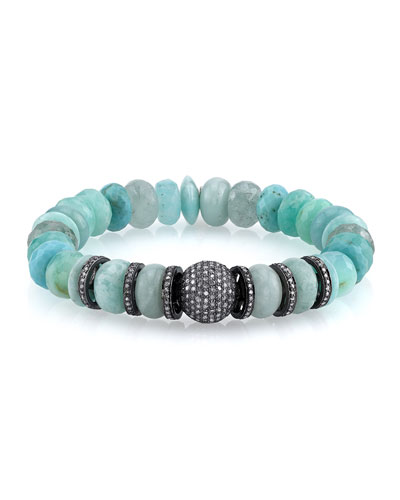 10mm Amazonite & Opal Beaded Bracelet with Diamonds