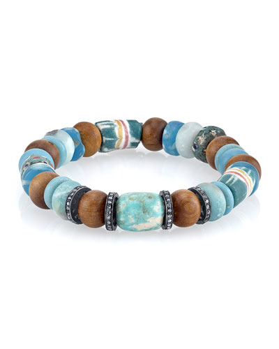 10mm Amazonite, Sandalwood & Painted Bead Bracelet with Diamonds