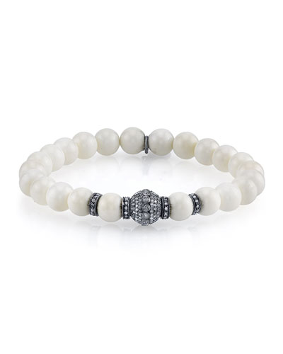 8mm Beaded Bone Bracelet with Diamonds
