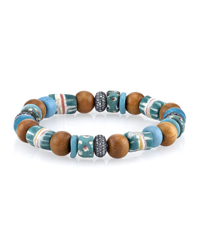10mm Amazonite, Sandalwood & Turquoise Beaded Bracelet with Diamonds