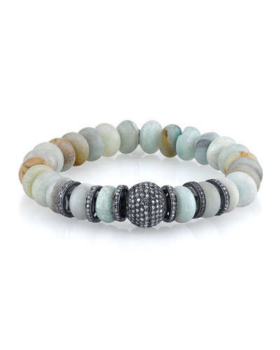 10mm Matte Amazonite Beaded Bracelet with Diamonds