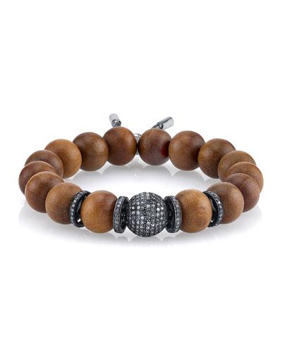 12mm Sandalwood Beaded Bracelet with Diamond Beads
