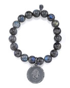 Beaded Labradorite Bracelet with Diamond Hamsa Charm