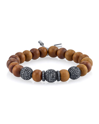 10mm Sandalwood Beaded Bracelet with Diamond Beads