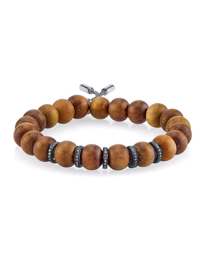 10mm Sandalwood Beaded Bracelet with Diamond Rondelles