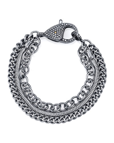 Three-Strand Chain Bracelet with Diamond Clasp