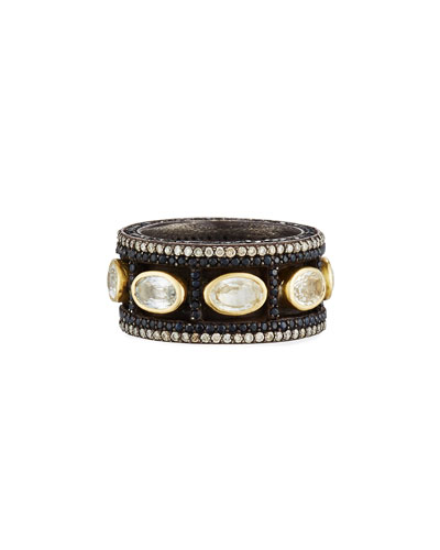 Old World Wide Band Ring with Diamonds & Sapphires