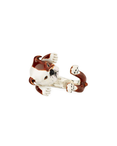 English Bulldog Enameled Dog Hug Ring, Size 8