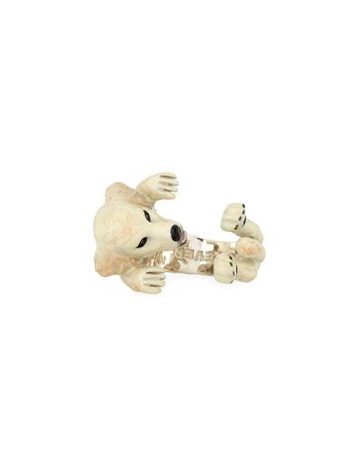 Golden Retriever Enameled Dog Hug Ring, Size 8