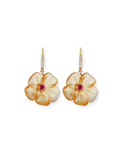 Citrine Mini Flower Earrings with Diamonds